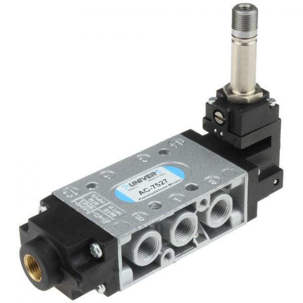 Univer AC-7527 5/2-Wege Magnetventil MIXED G1/8 mit pneumatischer Rückstellung - Elektropilot 90°