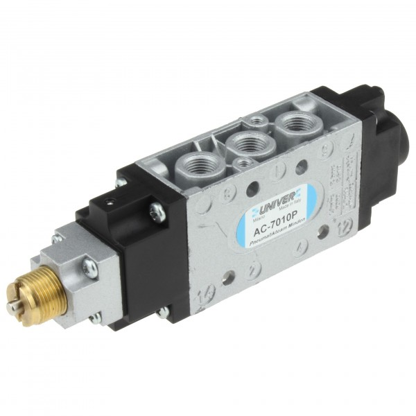 Univer AC-7010P 5/2-Wege Pneumatikventil MIXED G1/8 mit Stößelbetätigung und Impulsrückstellung