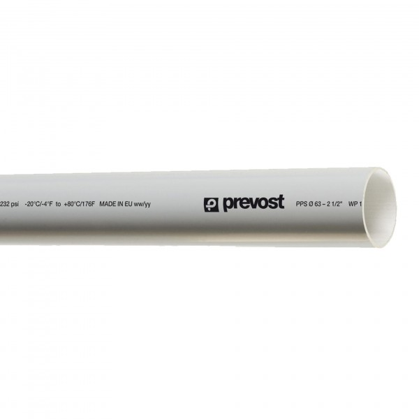 Prevost PPS GTU2555 Druckluft Aluminiumrohr grau mit 25mm Durchmesser