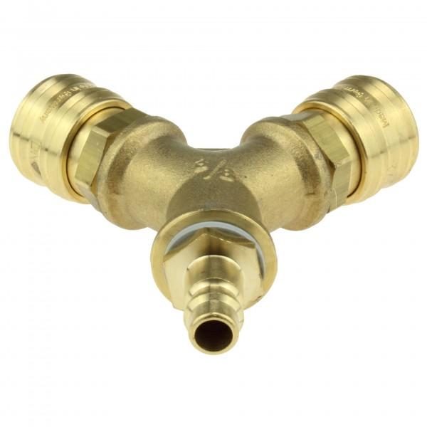 Druckluftweiche HKD7-W2-38 aus Messing mit Stecknippel NW 7,2 - Ansicht 1